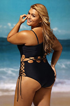 Lalagen Women's Sexy Lace Up Hollow Out Monokini Plus Size One Piece Swimsuit Black XL - Azura Rose