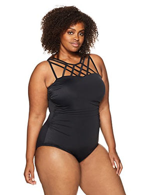 Coastal Blue Women's Plus Size Control Swimwear Top Strap Detail One Piece Swimsuit, Black, 1X (16W-18W) - Azura Rose