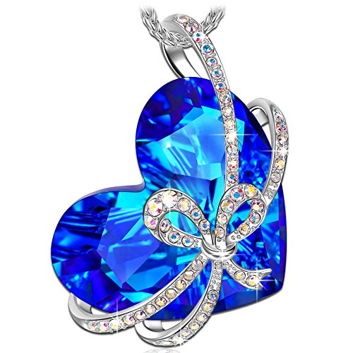 QIANSE Heart of Ocean Necklace Pendant White Gold Silver Necklaces for Women Sapphire Swarovski Crystal Jewelry for Women Girls Anniversary Gifts for Her Birthday Gifts for Girlfriend Wife Mom - Azura Rose