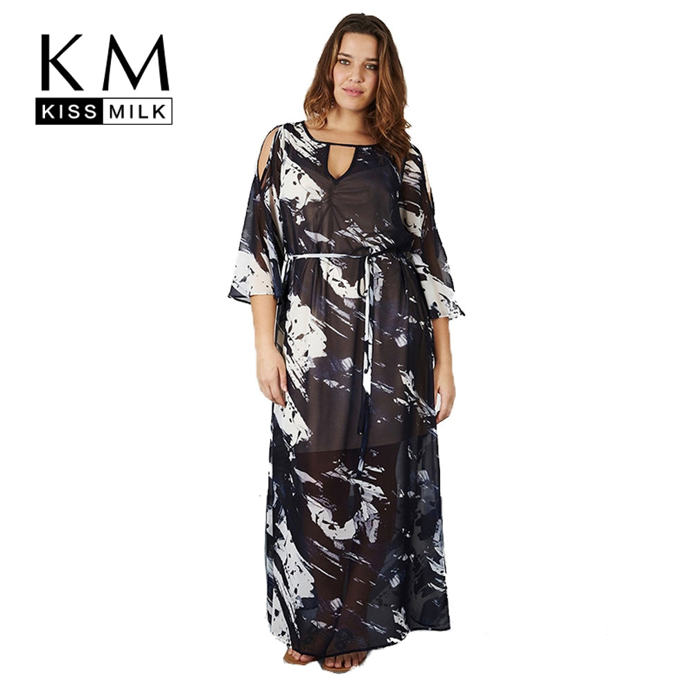 Kissmilk Plus Size New Fashion Women Clothing Casual Simple Elegant Print Cold Shoulder Long Dress O-Neck Dress 3XL 4XL 5XL 6XL - Azura Rose