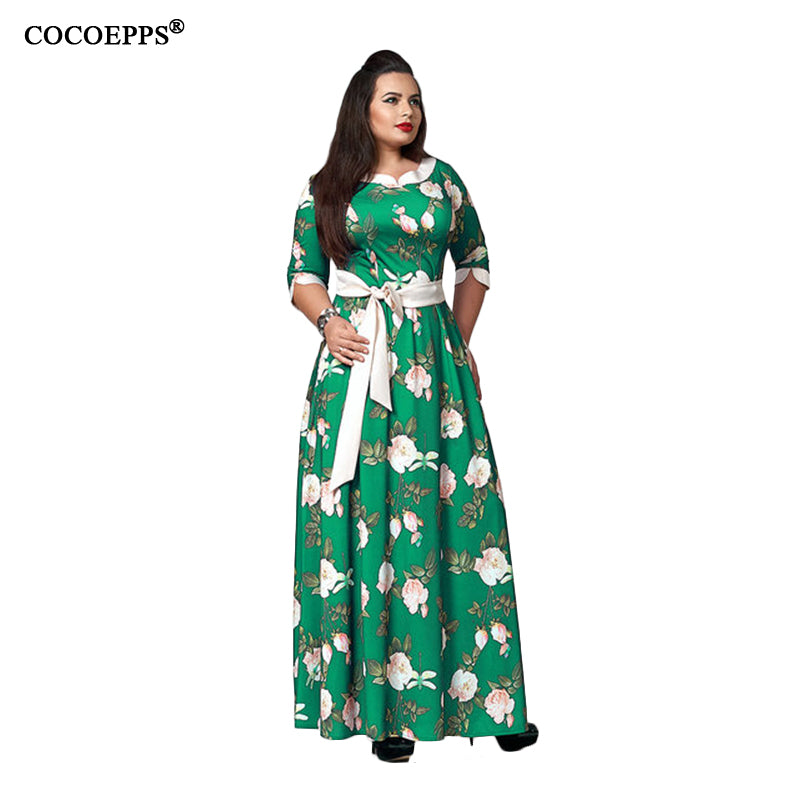 5XL 6XL Sexy Maxi Dress big size 2017 Women Autumn Winter plus size Party Dress Vintage loose Floral Printing Boho Long Dresses - Azura Rose