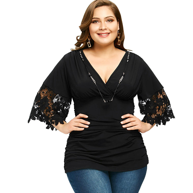 PlusMiss Plus Size 5XL Ruched Lace Crochet Top with Necklace Women Clothing Large Size Blouse Vintage Sexy Black V Neck Blusas - Azura Rose