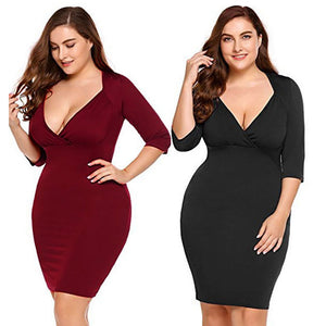 Women Sexy V-Neck Plus Evening Party Cocktail Midi Casual Short Dress - Azura Rose