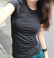 Black Mesh Yoga Shirt
