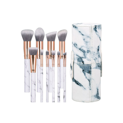 10 PCS Marble Pattern Makeup Brushes Plastic Handle Vegan Synthetic Hair