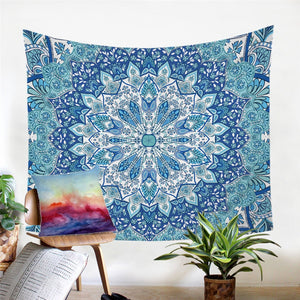 Blue Mandala Flower Tapestry