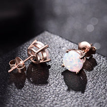 Rose Gold Plated Opal Stud Earrings