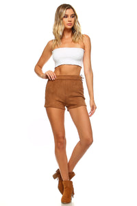 Suede Side Tie Shorts