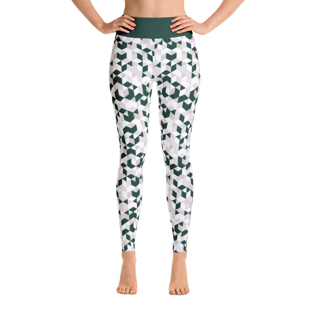 Cubed Pants, Green & White