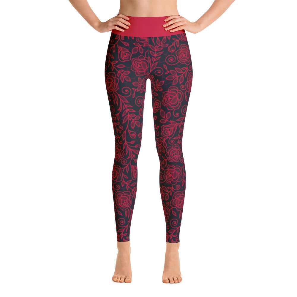 Roses Pants, Red & Black
