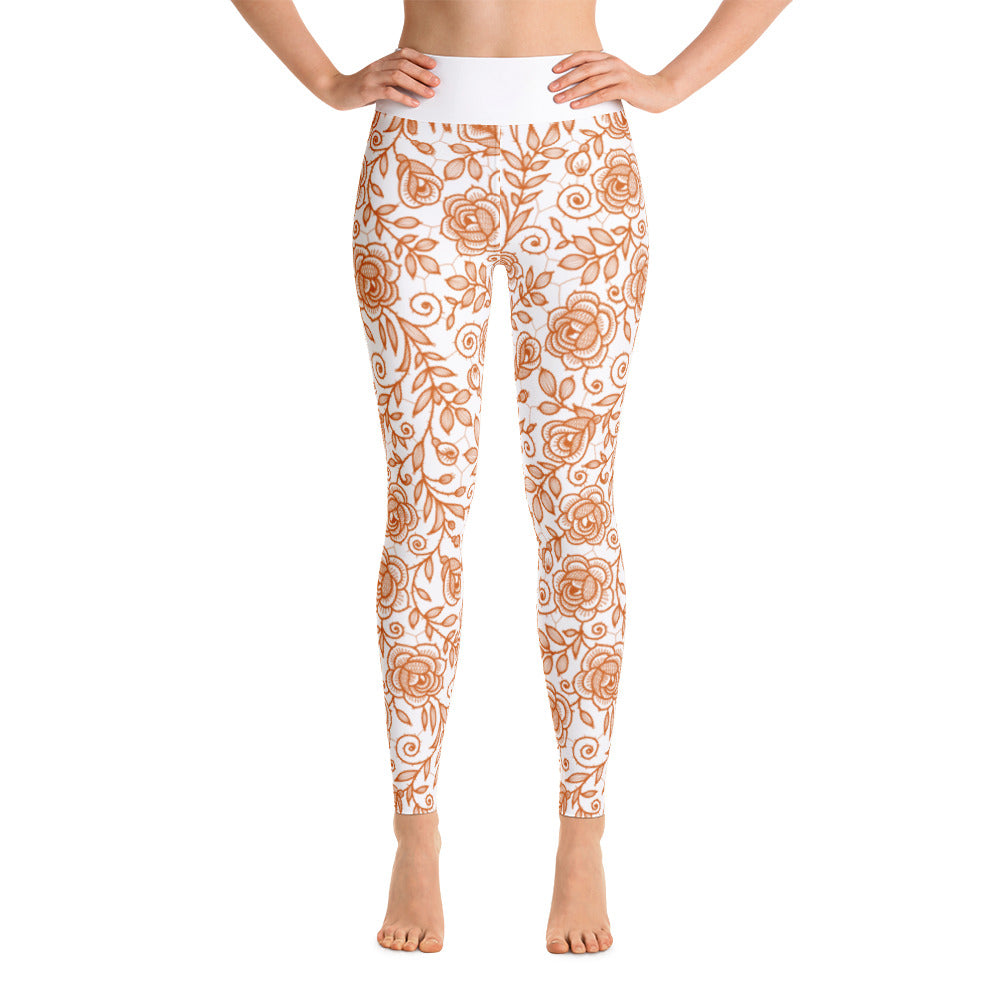 Roses Pants, Burnt Orange & White