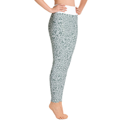 Mandala Pants, Green & White