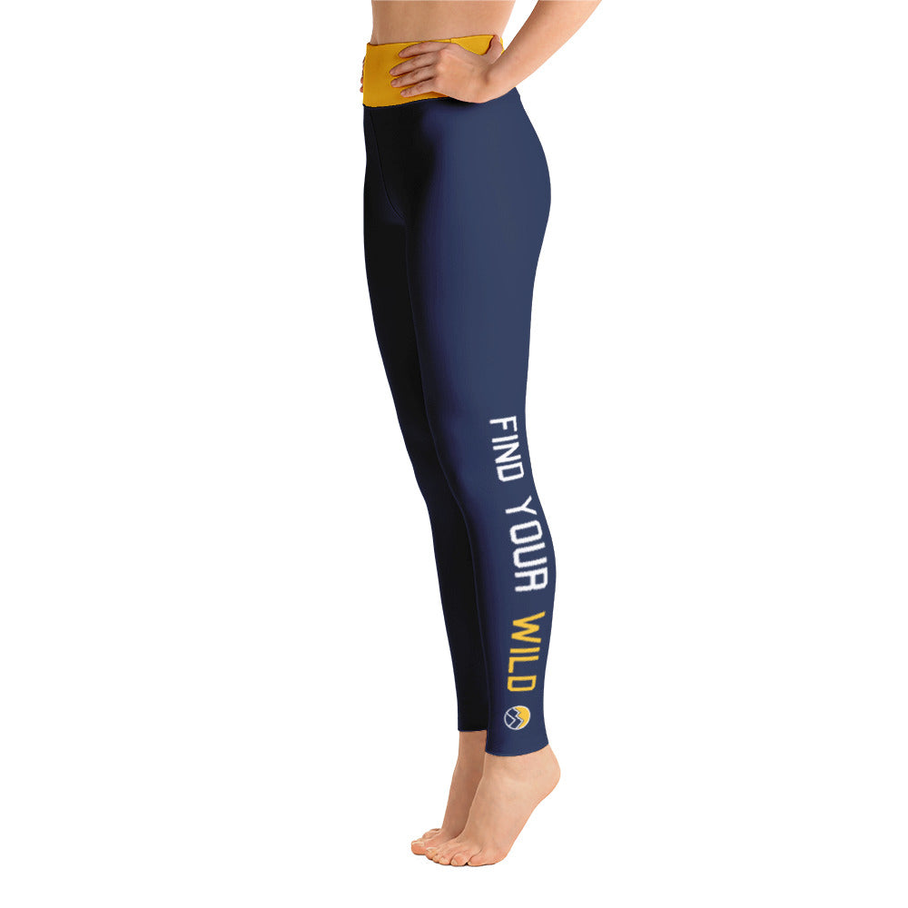 Find Your Wild Pants, Navy & Yellow