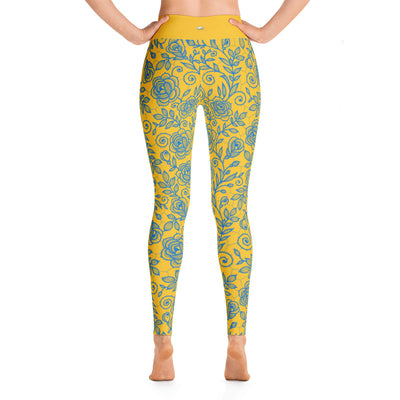 Roses Pants, Blue & Gold
