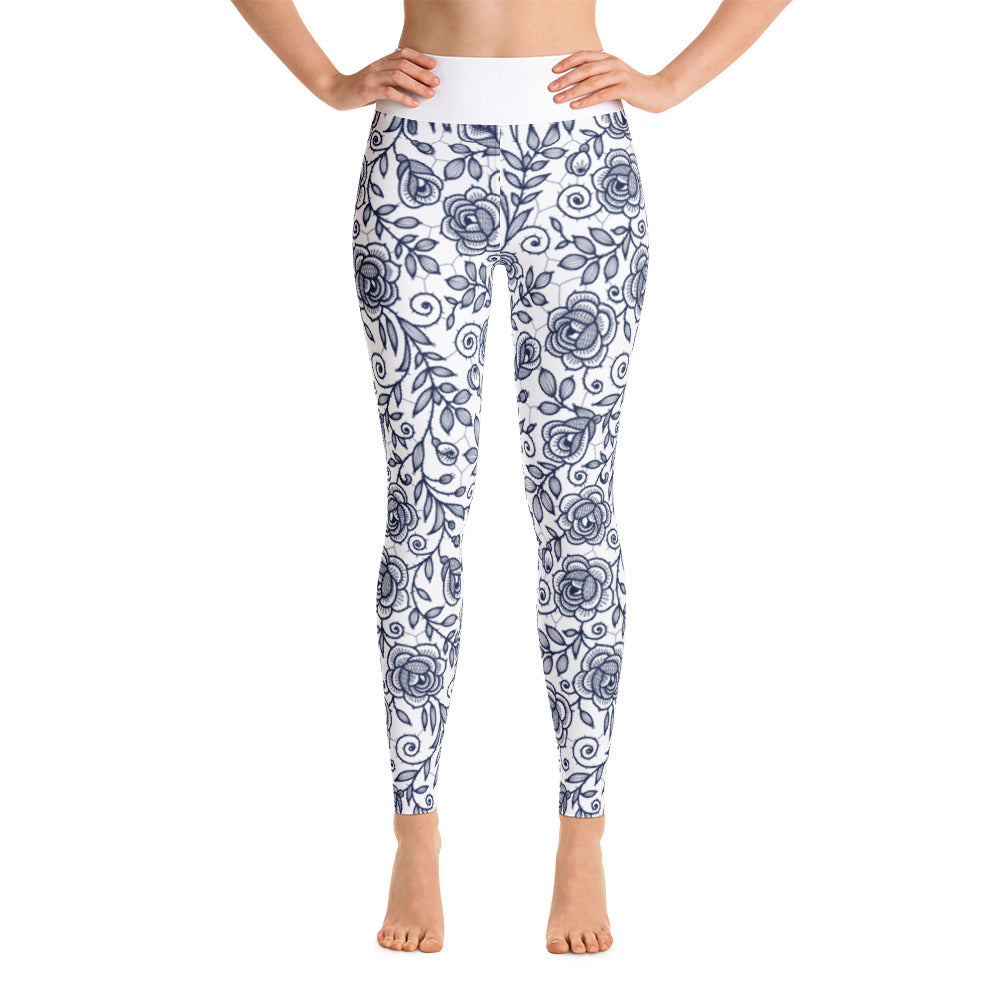 Roses Pants, Navy & White