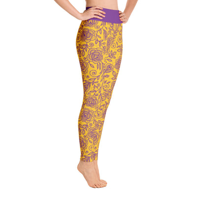 Roses Pants, Purple & Yellow