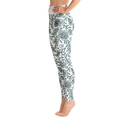 Roses Pants, Green & White