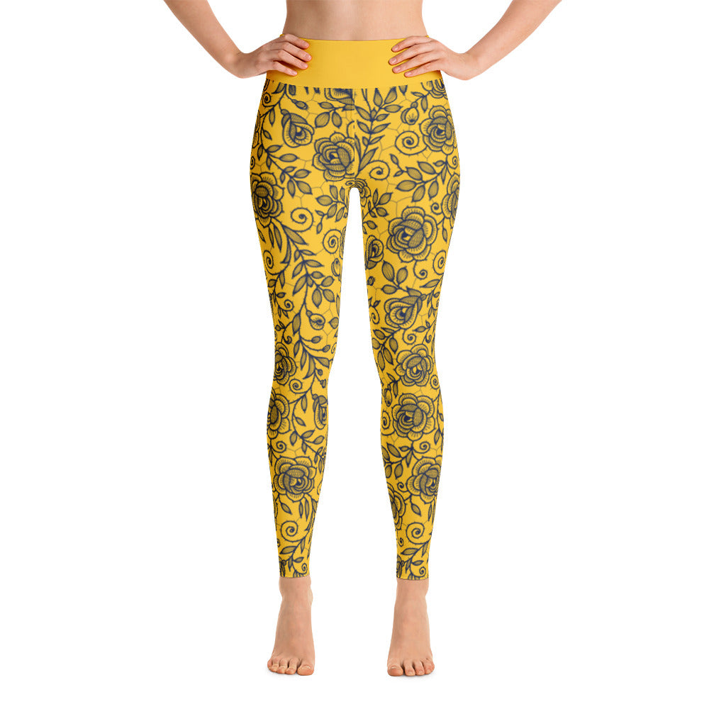 Roses Pants, Navy & Yellow