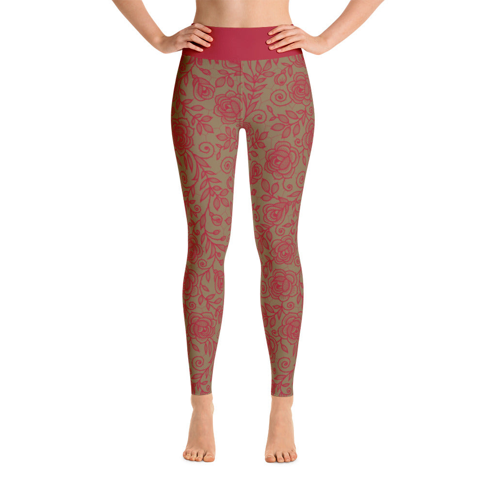 Roses Pants, Red & Gold