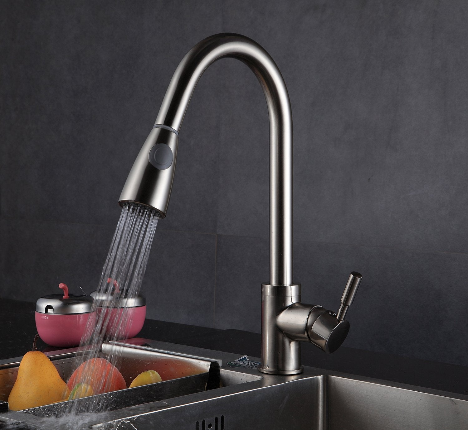 Buy-Hive Kitchen Faucet Brushed Nickel Pull Out Sprayer Home Sink ...