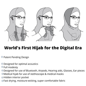 High Tech Performance Hijab (Black with Grey)