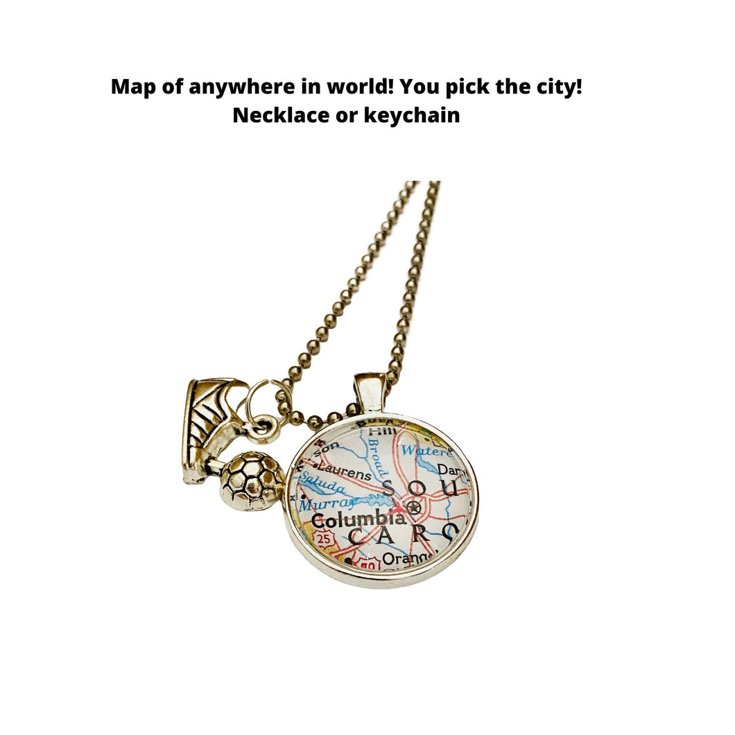 Soccer Charm Necklace / CUSTOM Map Pendant