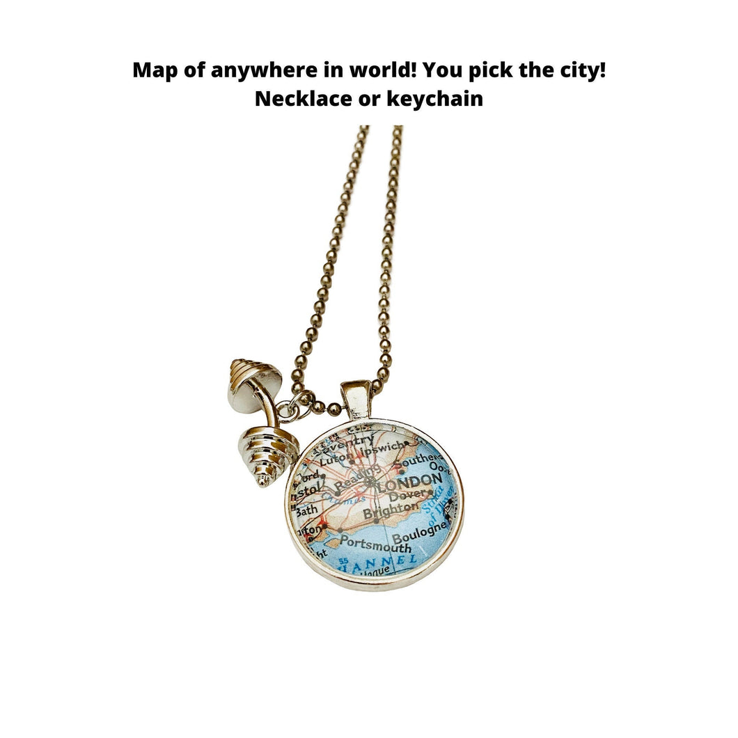 Weightlifting Jewelry / CUSTOM Map Pendant