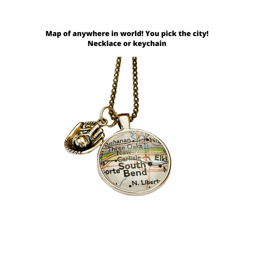 Baseball Jewelry Charm / CUSTOM Map Pendant