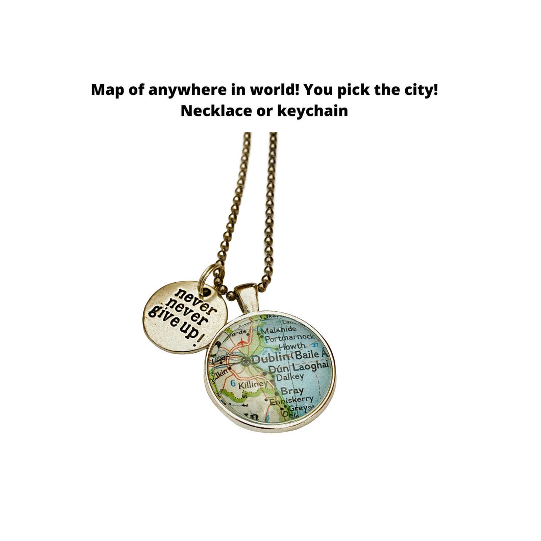 Never Never Give Up Charm & CUSTOM Map Pendant Necklace