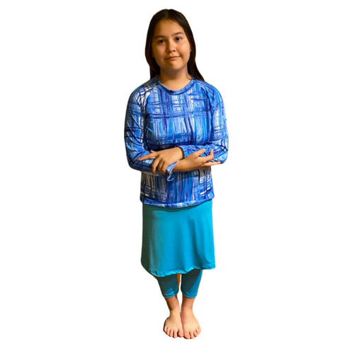 Girl Modest Swimwear with leggings Size S-XXL (Turquoise)