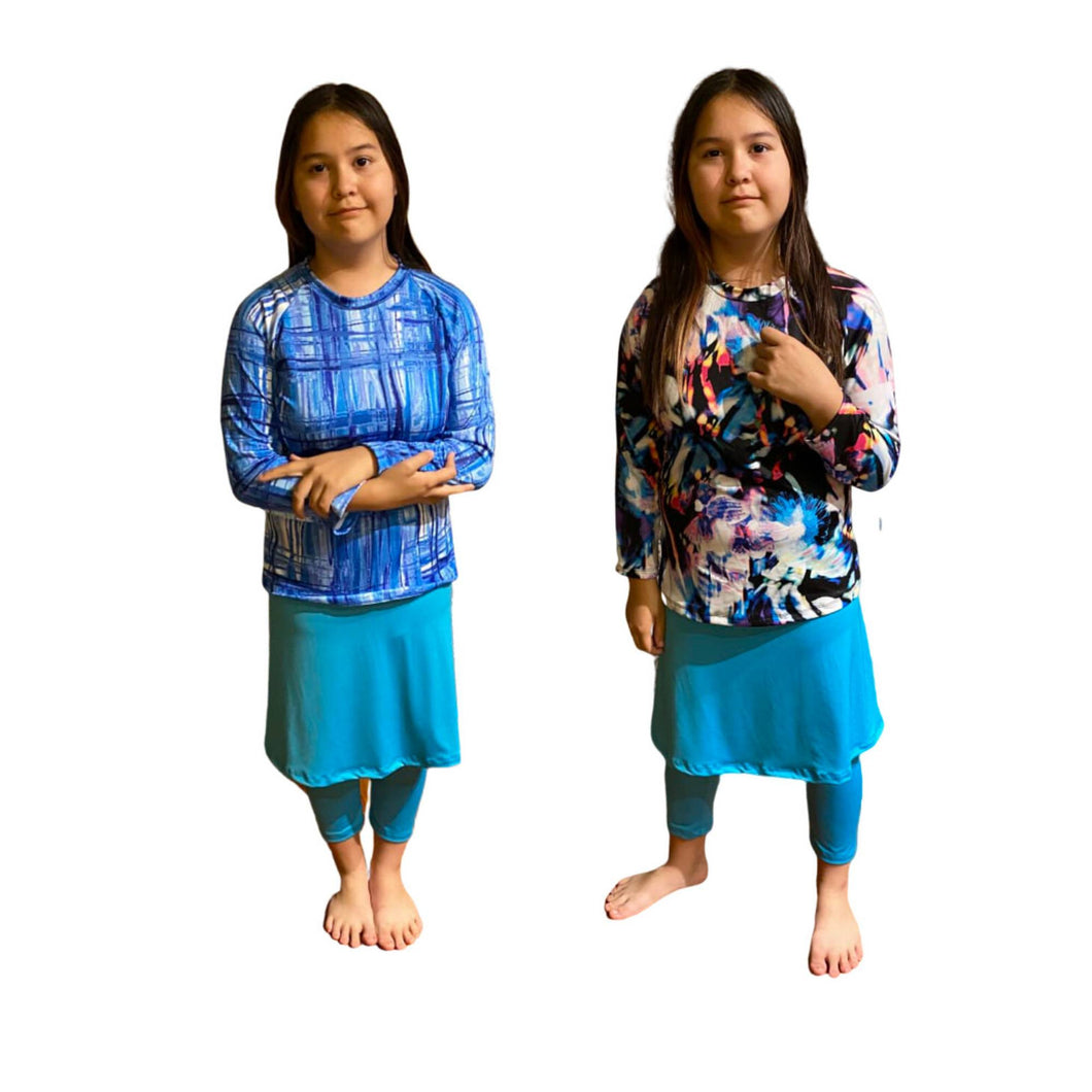 Girls Modest Swimwear Complete Swim Set Sz S-XXL (Turquoise)