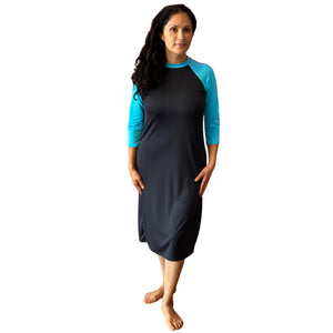 Modest Swim Dress Full Cover (Black with Turquoise)