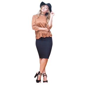 Plus Size Pencil Skirt (Black)