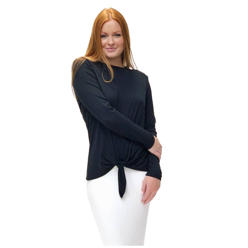 Plus Size Adjustable Knot Top Tunic (Black)