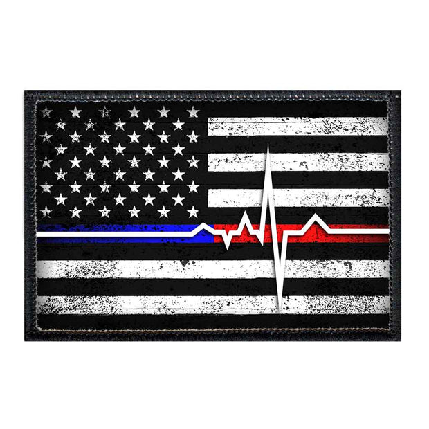 American Flag - Lifeline - Black and White - Distressed - Removable Patch 1