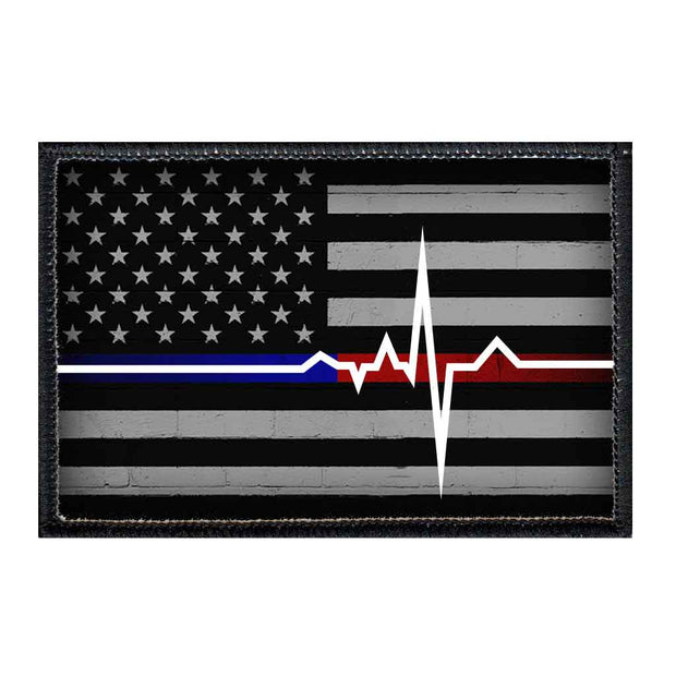 American Flag - Lifeline - Black and White - Patch 1