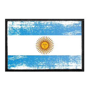 Argentina Flag - Color - Distressed - Removable Patch
