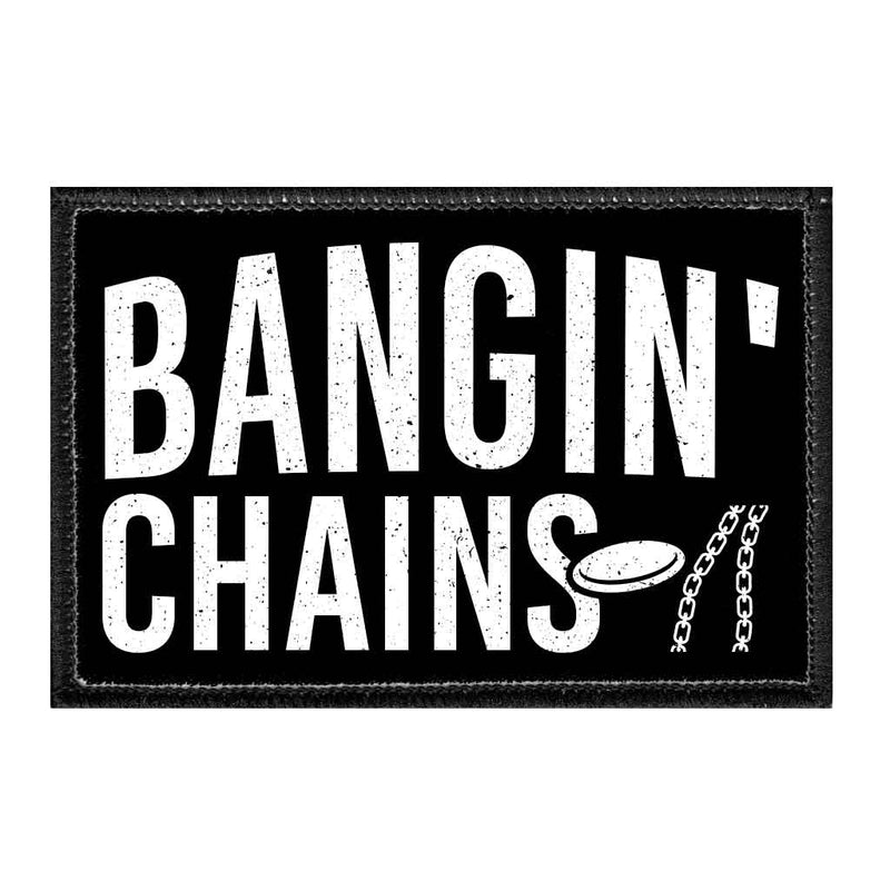 Bangin' Chains - Disc Golf - Removable Patch - Pull Patch - Removable Patches For Authentic Flexfit and Snapback Hats