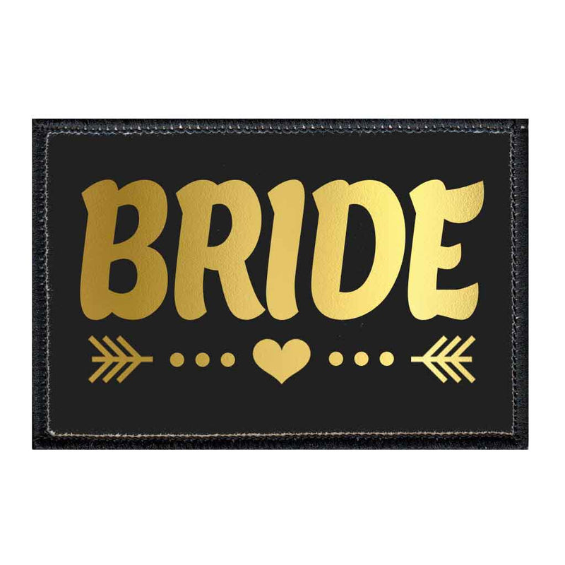 Bride - Arrows - Black And Gold - Patch - Pull Patch - Removable Patches For Authentic Flexfit and Snapback Hats