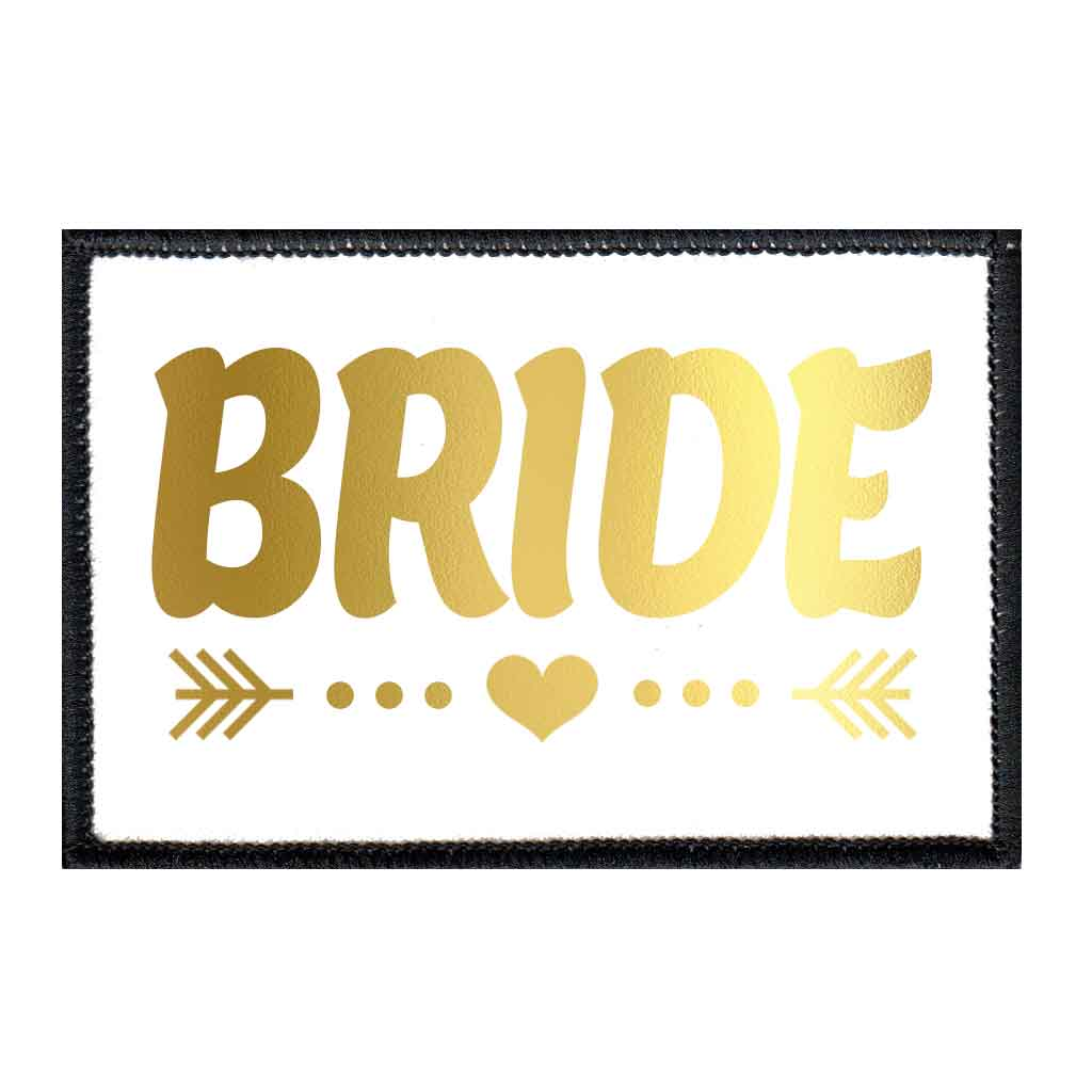 Bride - Arrows - Gold And White - Patch - Pull Patch - Removable Patches For Authentic Flexfit and Snapback Hats