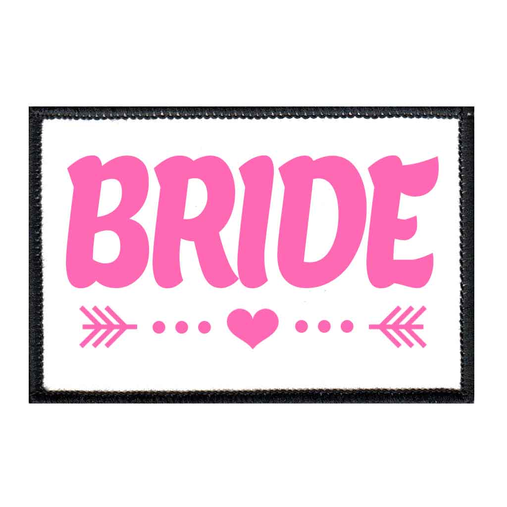 Bride - Arrows - Pink And White - Patch - Pull Patch - Removable Patches For Authentic Flexfit and Snapback Hats