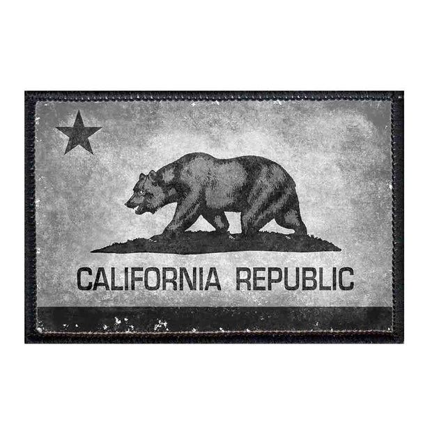 California State Flag - Black and White - Distressed - Patch 1
