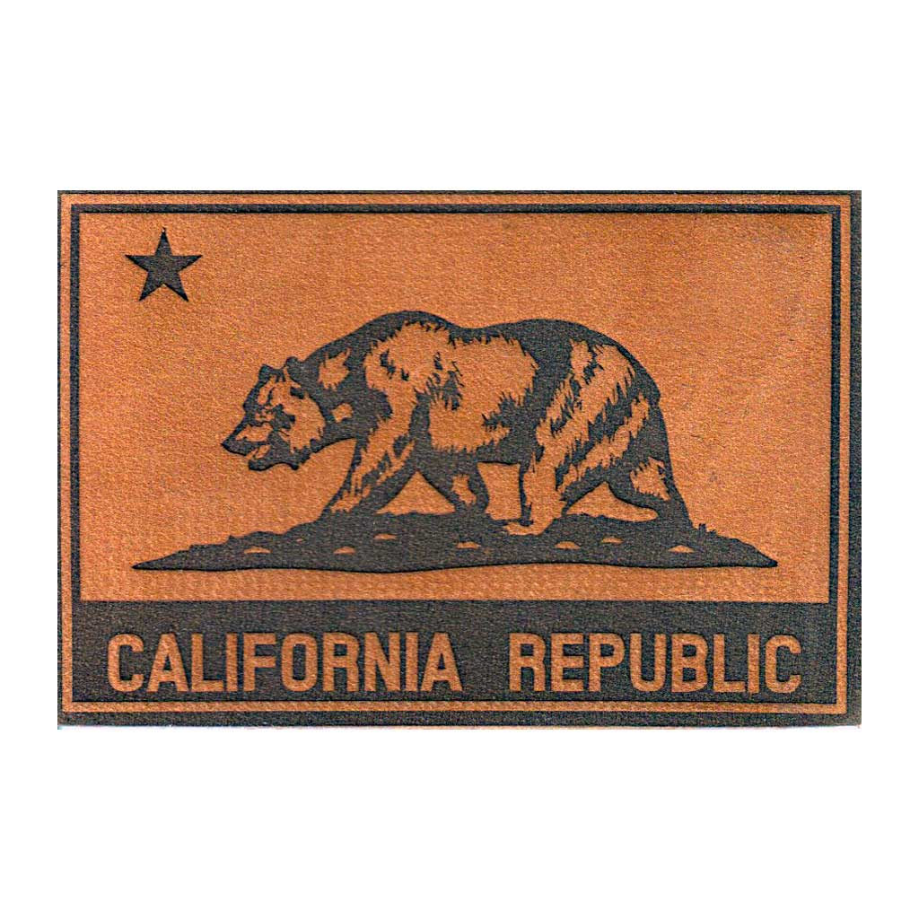 California State Flag - Leather - Removable Patch - Pull Patch - Removable Patches For Authentic Flexfit and Snapback Hats