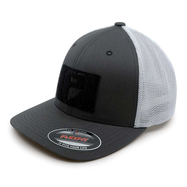 Charcoal and White - Trucker Mesh 2-Tone Flexfit Hat by Pull Patch 1