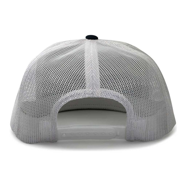 Classic Trucker 2-Tone Pull Patch Hat By Snapback - Navy Blue and White 1