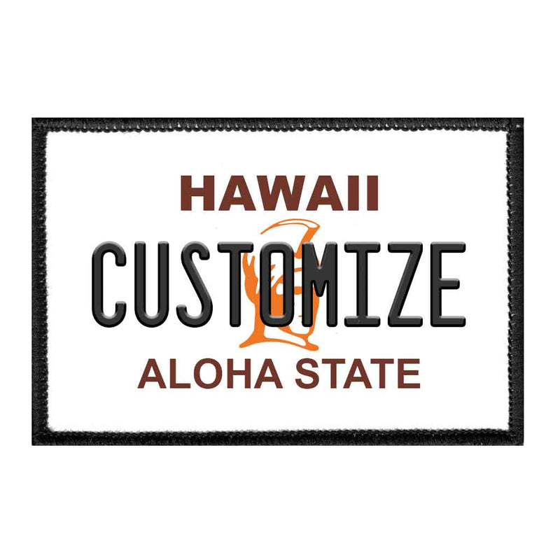 Customizable - Hawaii License Plate - Removable Patch - Pull Patch - Removable Patches For Authentic Flexfit and Snapback Hats
