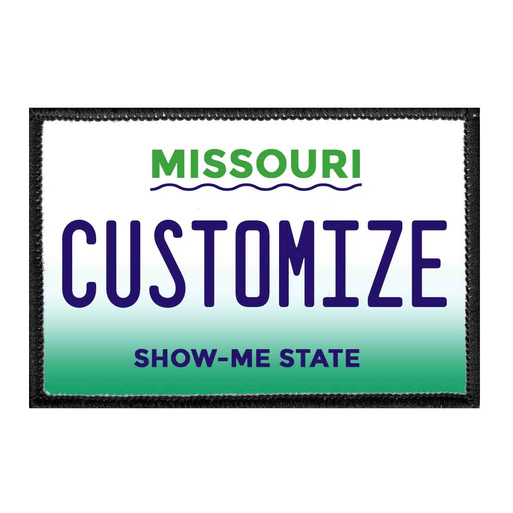 Customizable - Missouri License Plate - Removable Patch - Pull Patch - Removable Patches For Authentic Flexfit and Snapback Hats