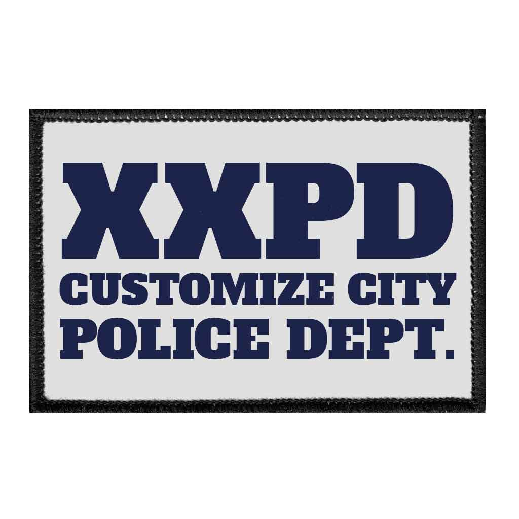 Customizable - Police Department - Grey - Removable Patch - Pull Patch - Removable Patches For Authentic Flexfit and Snapback Hats