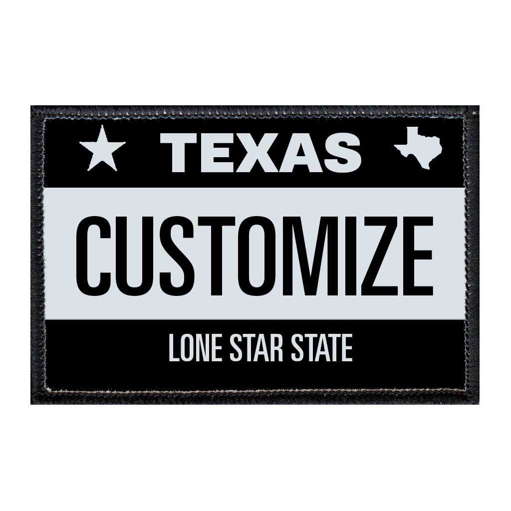 Customizable - Texas License Plate - Removable Patch - Pull Patch - Removable Patches For Authentic Flexfit and Snapback Hats