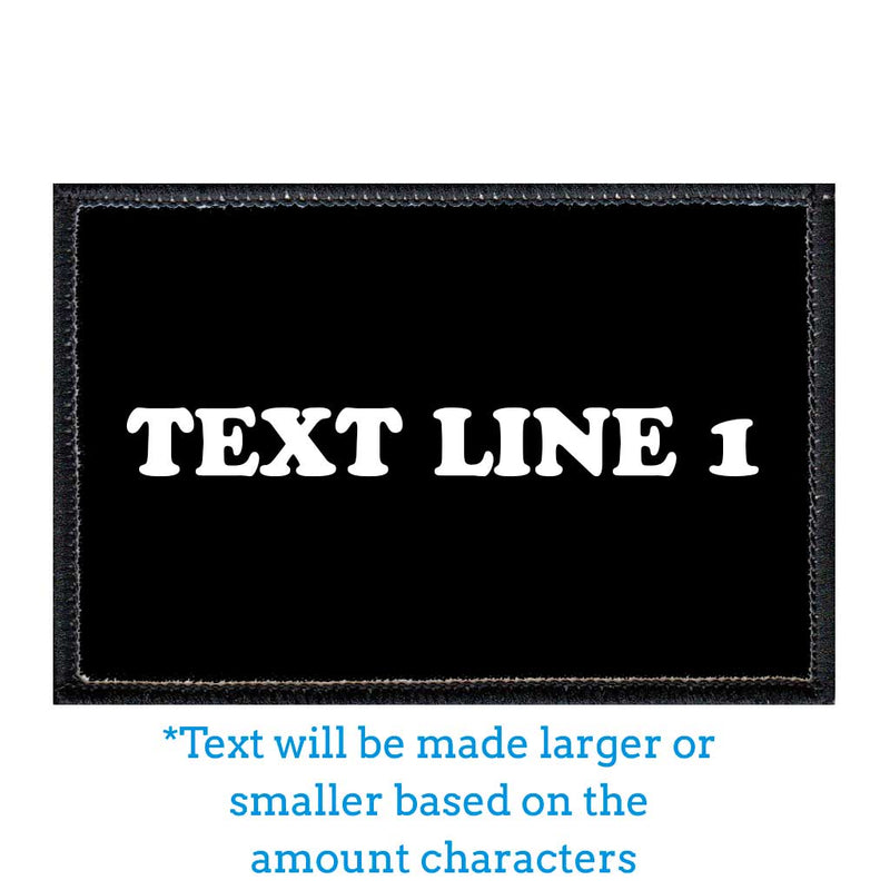 Customizable - Up To 4 Lines Of Text - Black - Removable Patch - Pull Patch - Removable Patches For Authentic Flexfit and Snapback Hats